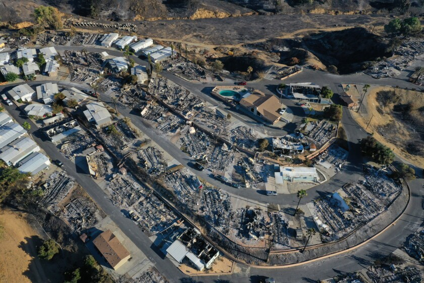 Calimesa Mobile Home Park was severely damaged in the Sandalwood fire