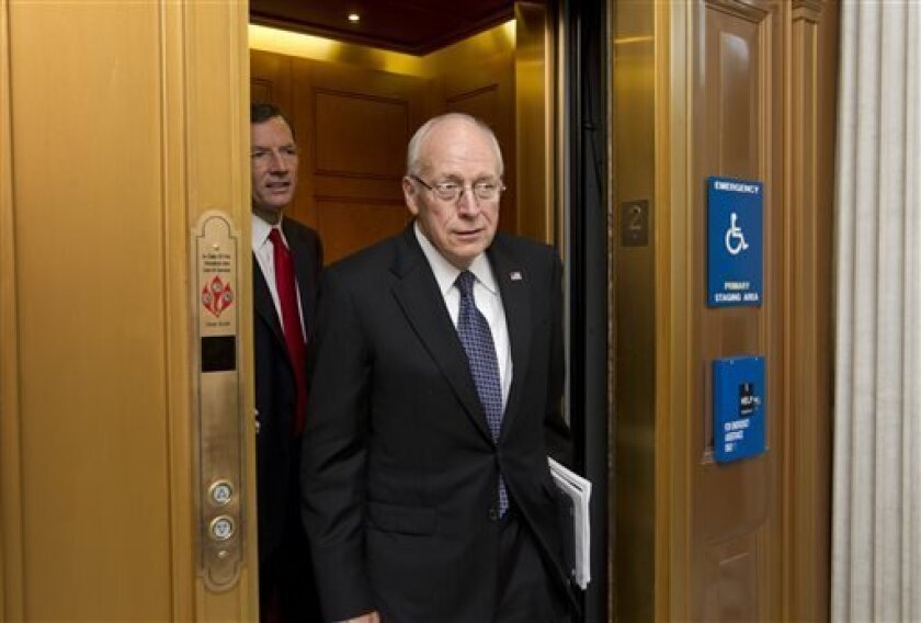 """FILE - This July 17, 2012 file photo shows former Vice President Dick Cheney at Capitol to meet with Senate Republican leaders at a political strategy luncheon, in Washington. Cheney, chief of staff under President Gerald Ford and widely perceived as an involved and influential vice president under George W. Bush, is featured in the Discovery documentary, """"The Presidents' Gatekeepers,"""" airs for two hours each on Wednesday and Thursday. (AP Photo/J. Scott Applewhite, file)"""