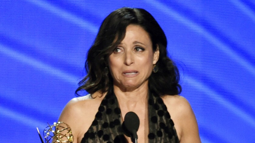 An emotional Julia Louis-Dreyfus pays tribute to her late father after winning lead actress in a comedy.