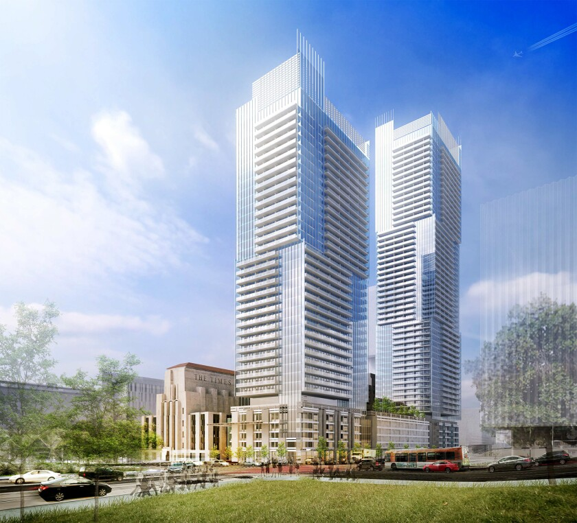 A proposal calls for two apartment towers of 37 and 53 stories containing more than 1,100 apartments.