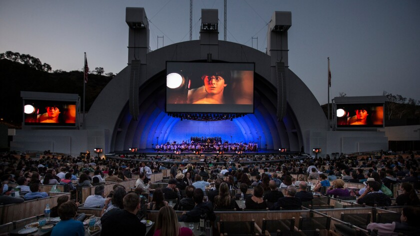 """The L.A. Philharmonic performs John Williams' music for """"Harry Potter and the Sorceror's Stone"""" live during screening of the film at the Hollywood Bowl."""
