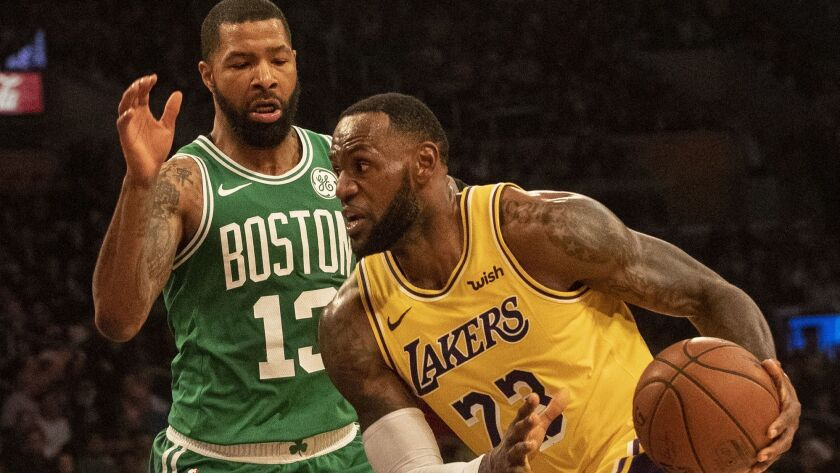 LOS ANGELES, CALIF. -- SATURDAY, MARCH 9, 2019: Lakers as the Lakers take on the Celtics at Staples