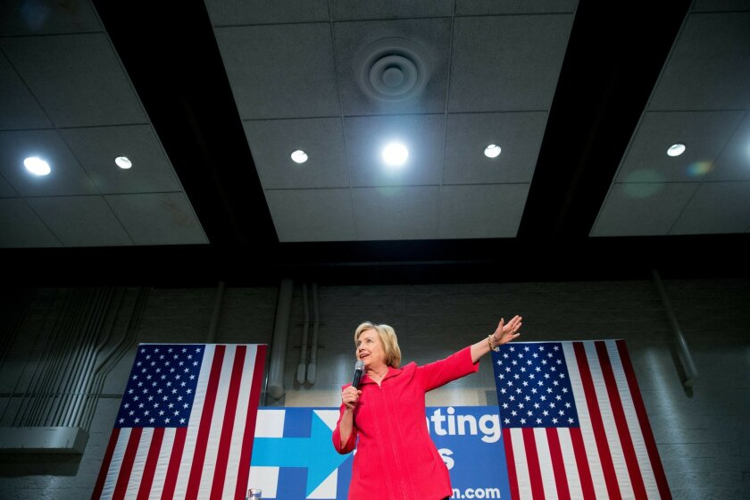 Democratic presidential candidate Hillary Clinton speaks at an event at James E. Bruce Convention Center in Hopkinsville, Ky., Monday, May 16, 2016. (AP Photo/Andrew Harnik)