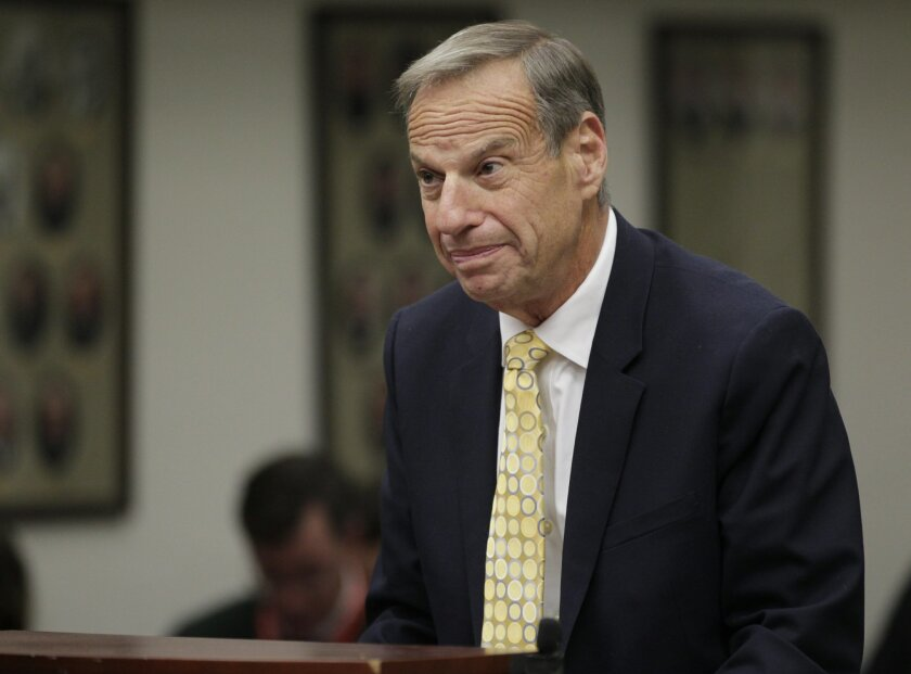 FILE - In this Dec. 9, 2013 file photo, former San Diego Mayor Bob Filner stands before judge Robert J. Trentacosta's courtroom as he was sentenced in San Diego. Filner's three-month house arrest ended Sunday,  April 6, 2014, fulfilling a sentence for felony false imprisonment and two misdemeanor c