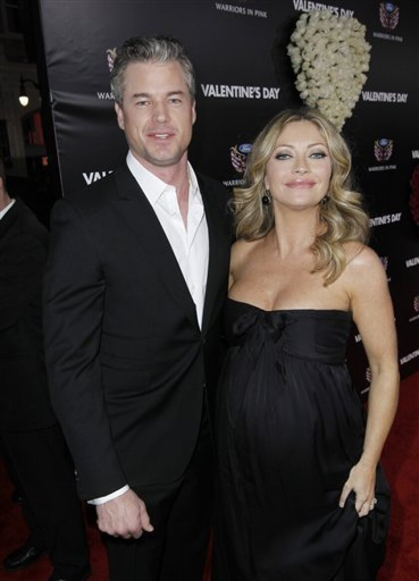 FILE - This Monday, Feb. 8, 2010 picture shows Rebecca Gayheart, right, and Eric Dane at the premiere for Valentines's Day in Los Angeles. (AP Photo/Matt Sayles)