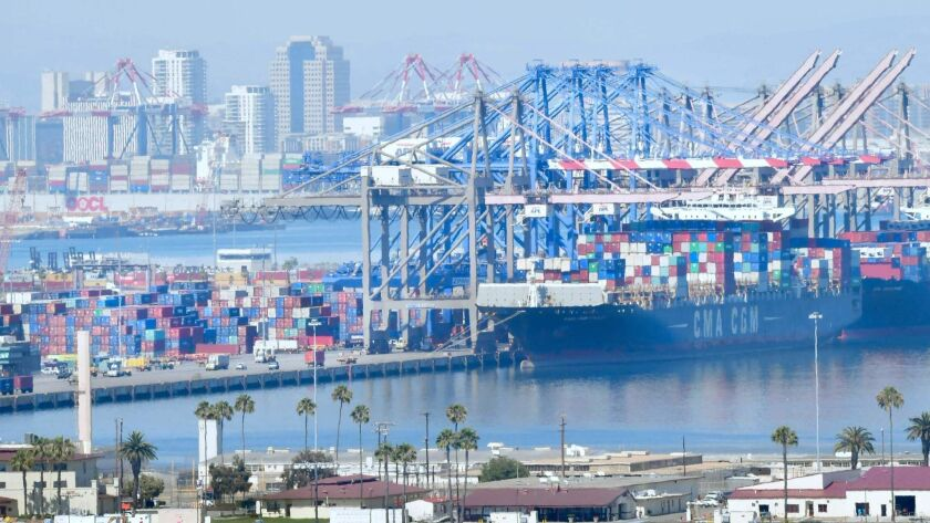 California's trade, transportation and utilities sector grew by 11,200 jobs in July. Above, the Port of Long Beach.