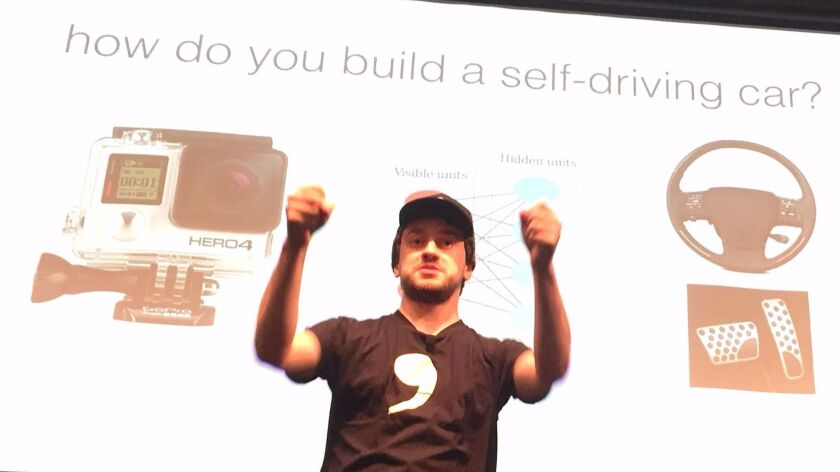 George Hotz at the Western Automotive Journalists conference in Mountain View on Oct 10.