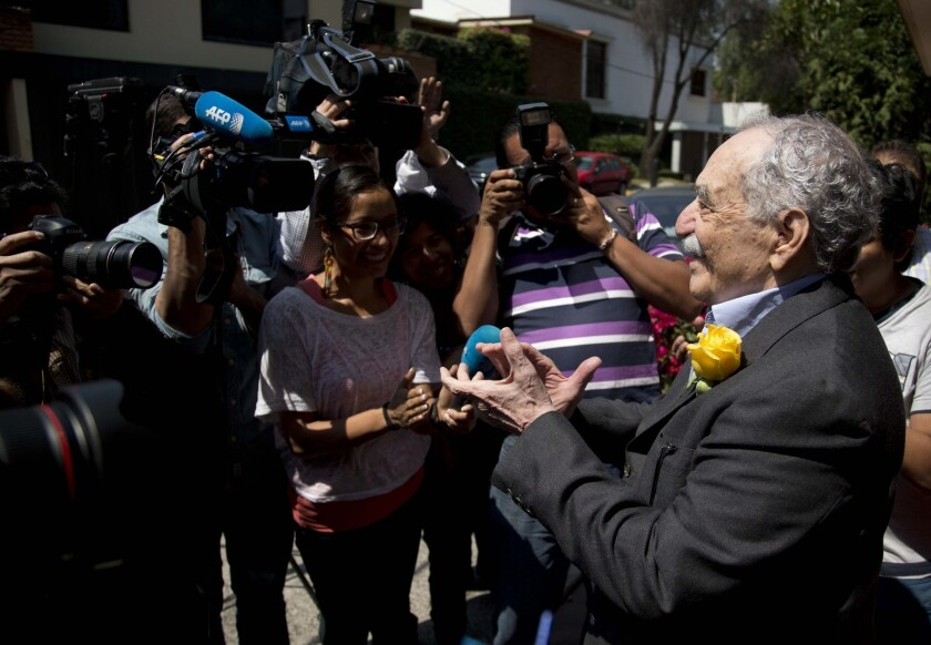 Colombian Nobel literature laureate Gabriel Garcia Marquez meets with fans and reporters outside his Mexico City home on March 6, his 87th birthday.