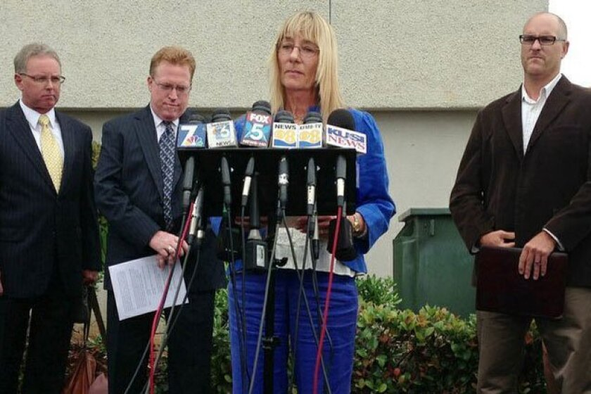 Donna Frye and other former backers of Mayor Bob Filner call on him to resign at a news conference Thursday morning in Linda Vista.
