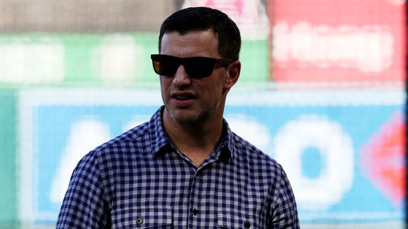 ANAHEIM, CALIF. - JUNE 28, 2017. Dodgers executive Andrew Friedman watches pre-game warmups before