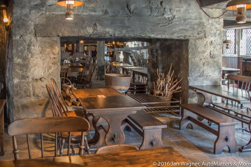 Authentic dining at the rustic Three Broomsticks tavern