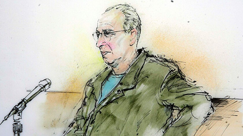 In this artist's depiction, private investigator Anthony Pellicano, wearing a green jail jumpsuit, is seen acting as his own attorney during the start of jury selection in his federal wiretapping case Wednesday, March 5, 2008, in Los Angeles.