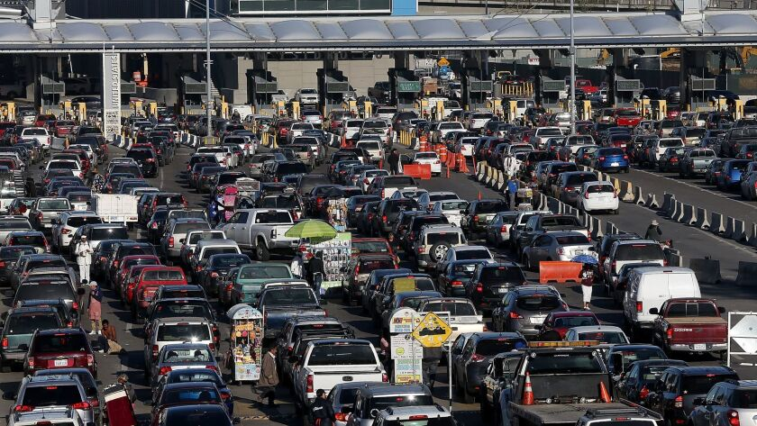 Cars line up to enter the United States at the San Ysidro Port of Entry in this January 27, 2017 photo.