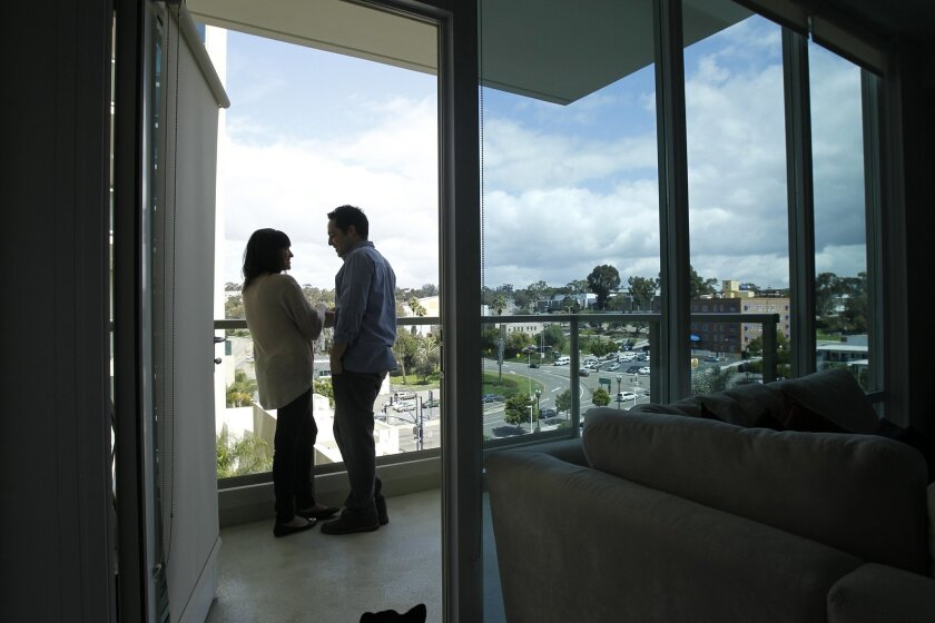 Renters at downtown San Diego's Vantage Pointe high-rise.