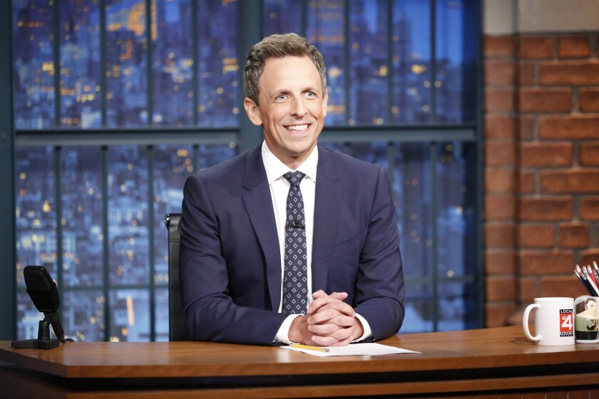 "Host Seth Meyers at his desk on ""Late Night With Seth Meyers."""