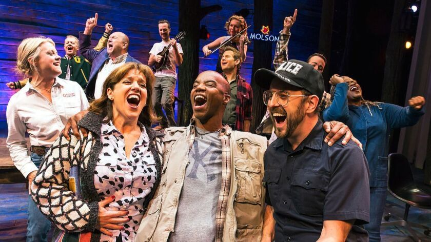 "The cast of the Broadway musical ""Come From Away"" on Broadway at the Schoenfeld Theatre (236 West 45"