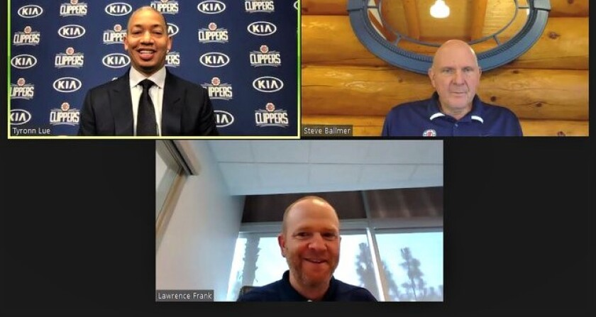 The Clippers introduced new coach Tyronn Lue, top left, during a videoconference with owner Steve Ballmer and Lawrence Frank.