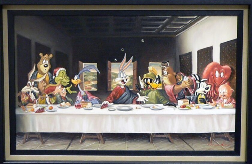 """Dallas artist Glen Tarnowski substituted Bugs Bunny for Jesus and other cartoon characters for disciples in his parody of """"The Last Supper,"""" which he called """"The Gathering."""" (Chuck Jones Gallery)"""