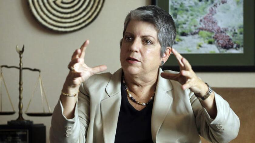 UC President Janet Napolitano gestures during an interview.