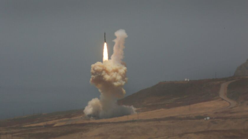 A ground-based interceptor missile is launched from Vandenberg Air Force Base in Lompoc on May 30.