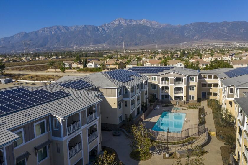 An aerial view of Day Creek Villas, a zero-net-energy housing development in Rancho Cucamonga.