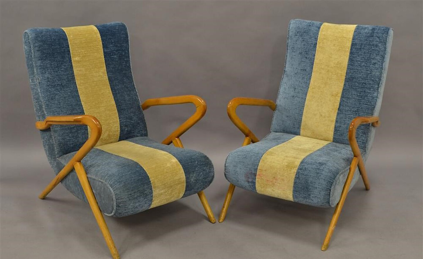 "Pair of Italian ""Airline"" Lounge Chairs c. 1950s were $8,800, now $2,800."
