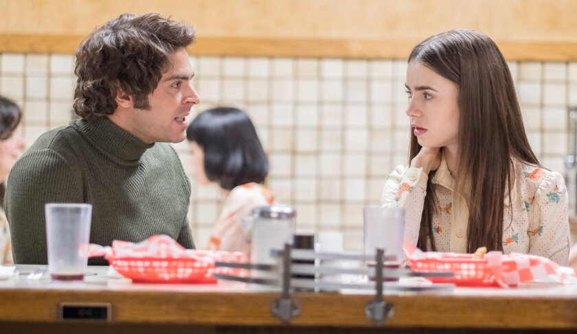 "(L-R)- Zac Efron and Lilly Collins in a scene from ""Extremely Wicked, Shockingly Evil and Vile."" Cre"