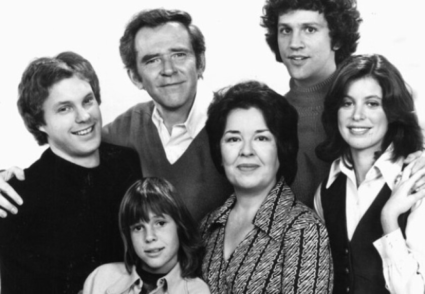 """Sada Thompson, at center front, with the cast of """"Family"""" in 1976. Other cast members included clockwise from bottom left, Kristy McNichol, Gary Frank, James Broderick, John Rubinstein and Elayne Heilveil."""