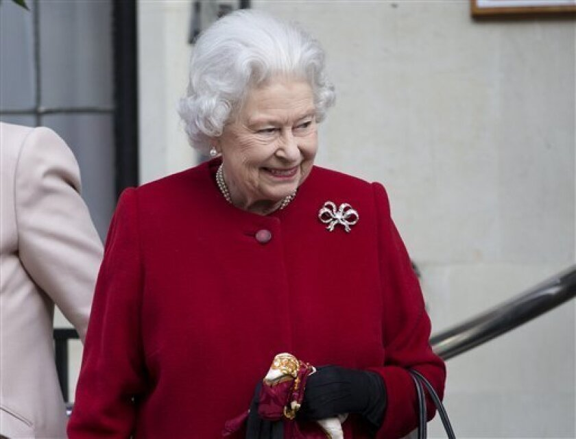Britain's Queen Elizabeth II leaves the King Edward VII hospital following a one-day stay caused by a stomach ailment, London Monday, March 4, 2013. The 86-year-old queen fell ill Friday and was being treated at Windsor Castle until Sunday, when she was moved to a central London hospital as a preca