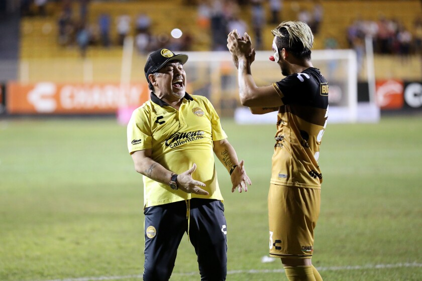CULIACÁN, SINALOA -- SATURDAY, OCTOBER 27, 2018: Diego Maradona, left, coach of Dorados of Sinaloa,