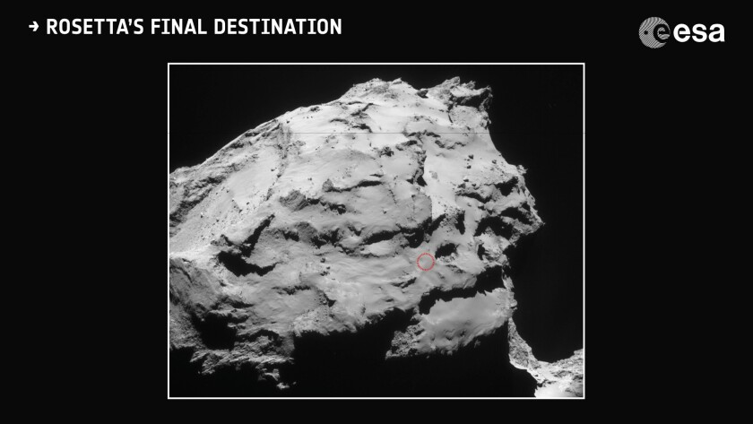 Rosetta will end its mission with a controlled impact on Comet 67P/Churyumov-Gerasimenko. The spacecraft will target Ma'at, a region hosting some active pits on the small comet lobe.