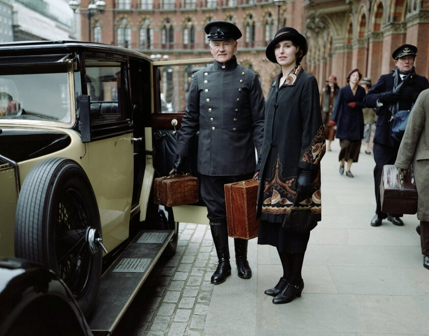 "Laura Carmichael stars as Lady Edith in a scene from season four of the Masterpiece TV series, ""Downton Abbey."""