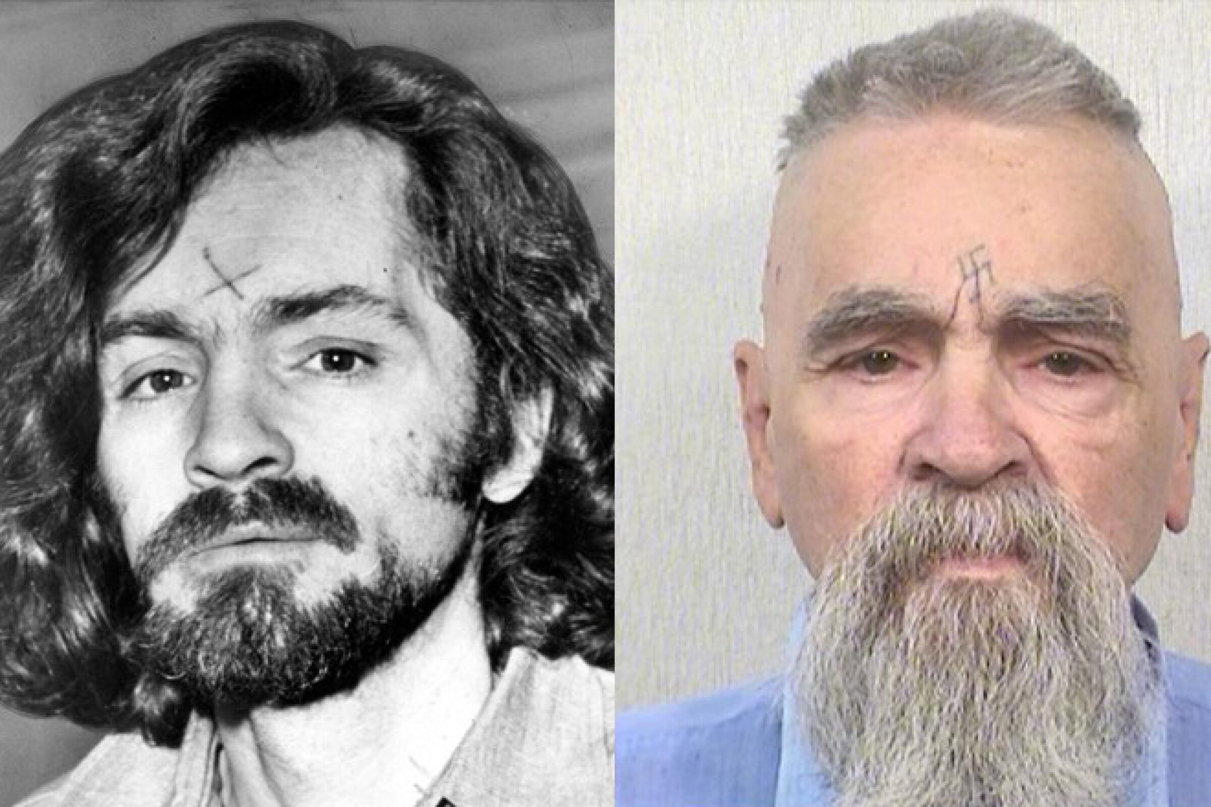 Charles Manson, at left, on his way to court in 1970 and, at right, in 2014.