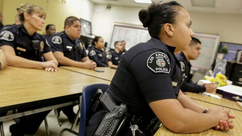 L.A. school police officers  at King Drew Magnet High School of Medicine and Science