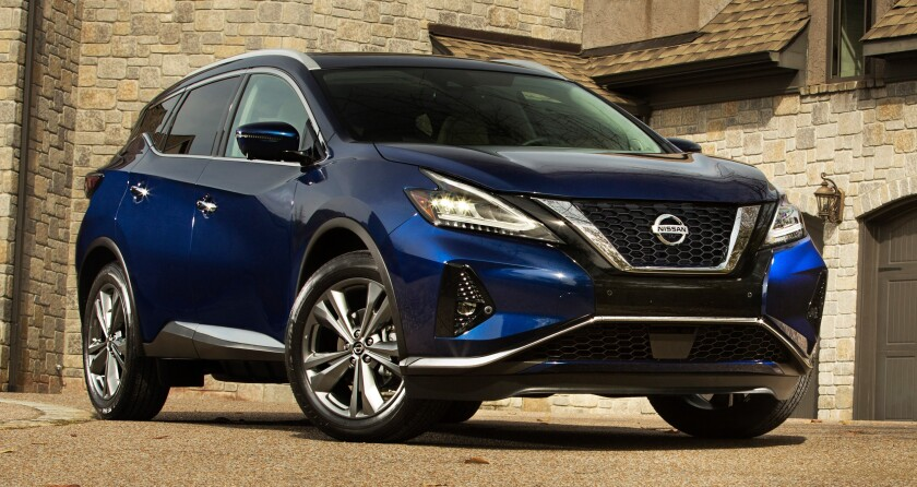 The Murano is sold front- or all-wheel drive with a 3.5-liter V-6 and continuously variable automatic transmission. Starting prices range from $32,315-$46,175.