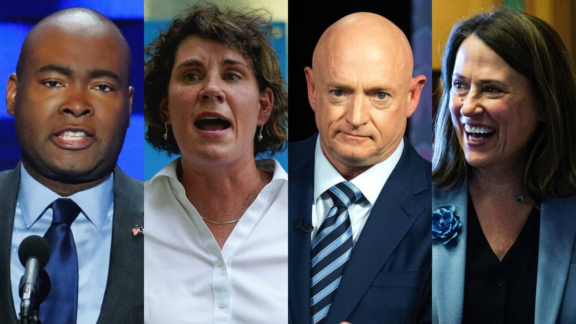 Democratic Senate candidates Jaime Harrison, Amy McGrath, Mark Kelly and Theresa Greenfield in four photos side by side