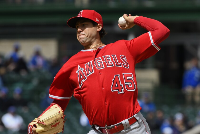 Angels pitcher Tyler Skaggs delivers against the Chicago Cubs on April 12.