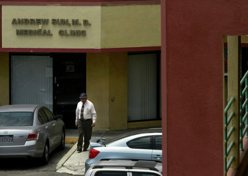 Dr. Andrew Sun's medical clinic in East Los Angeles photographed in 2011. The 79-year-old doctor was sentenced by a federal judge to more than five years in prison for his conviction last year on 14 counts of narcotics distribution.