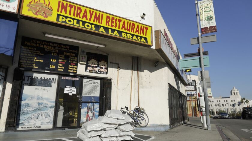 LOS ANGELES, CA -- OCTOBER 26, 2018: Intiraymi is a bare-bones Peruvian joint in an unsympathetic st