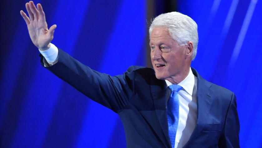 Former President Bill Clinton takes the stage at the Wells Fargo Center on Day 2 of the Democratic National Convention in Philadelphia.
