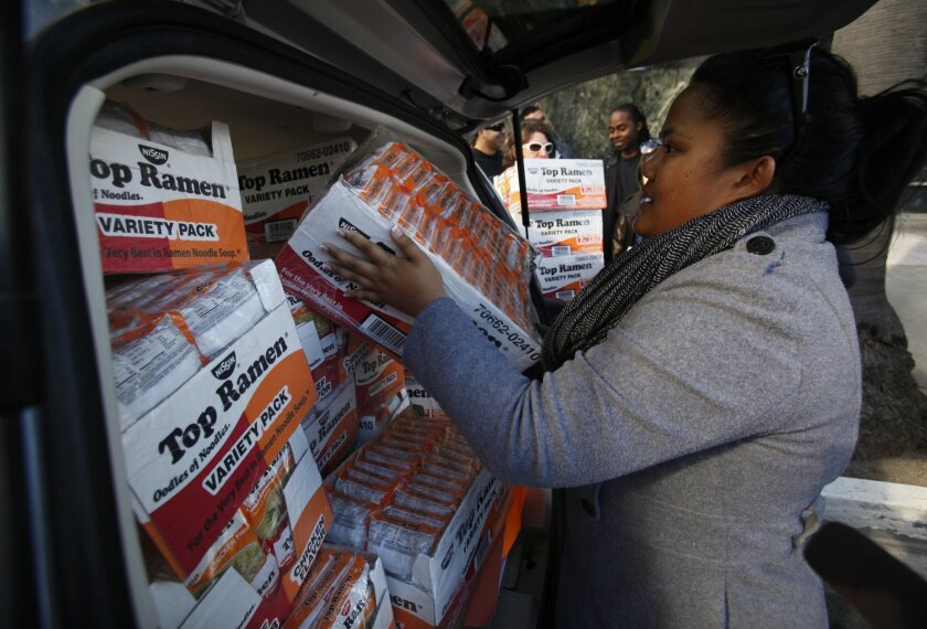 Community college students protesting proposed higer fees used ramen noodles as a prop to suggest that's all they'll be able to eat. After the rally After the rally, Marilyn Benitez  loaded the noodles into a van so they could be donated to the Veteran's Village of San Diego.