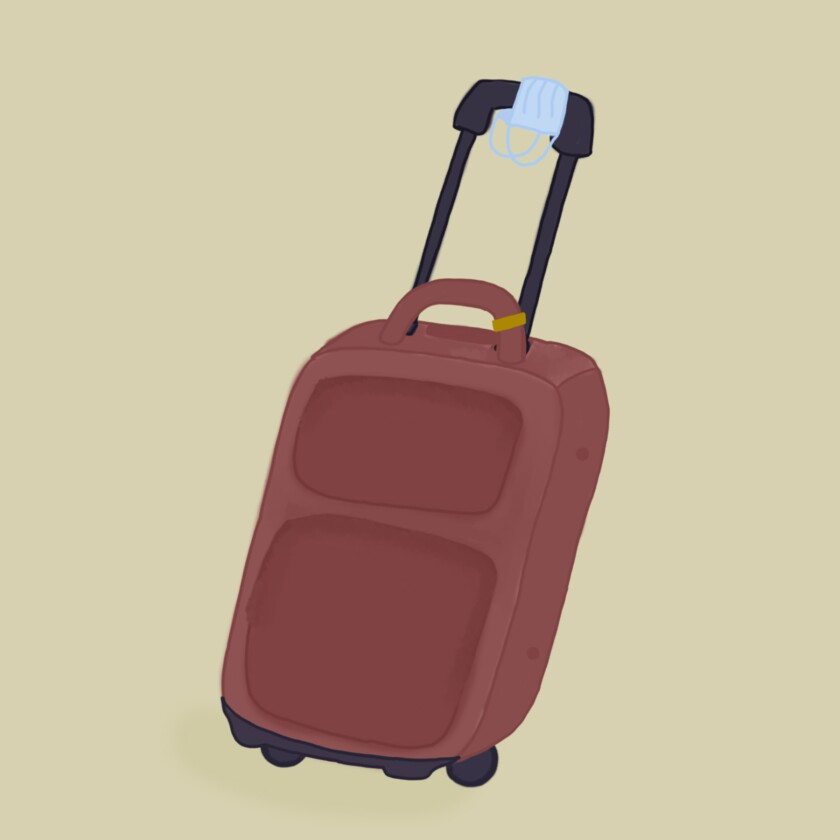 Illustration of a suitcase with a face mask on it.