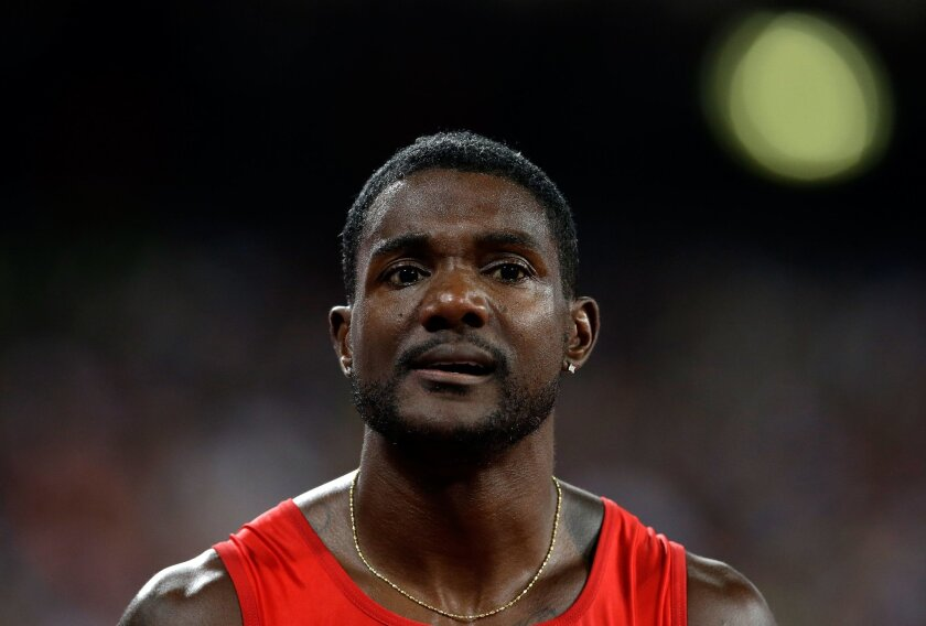 United States' Justin Gatlin after competing in the the men's 100m final at theWorld Athletics Championships at the Bird's Nest stadium in Beijing, Sunday, Aug. 23, 2015. Gatlin won the silver medal. (AP Photo/Kin Cheung)