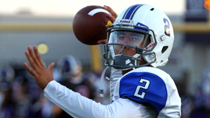 Rancho Bernardo quarterback Mark Salazar has returned from a broken collarbone.