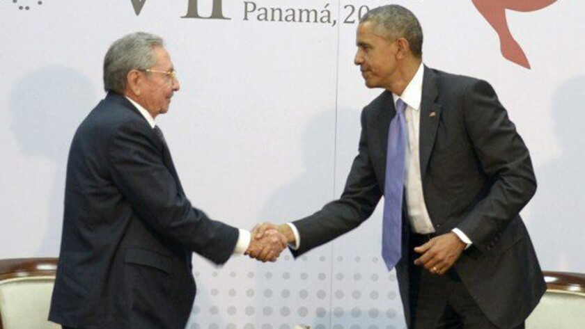 Cuban President Raul Castro and President Obama greet each other at the Summit of the Americas in Panama City, Panama, on April 11.