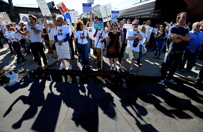 Members of the Actors' Equity Association march in North Hollywood on March 23 to protest a proposal to end a 99-seat theater plan in Los Angeles.