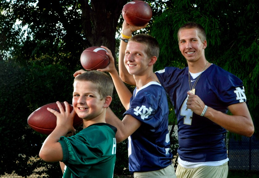 Hilinski brothers Ryan, left, Tyler, center, and Kelly in 2011.