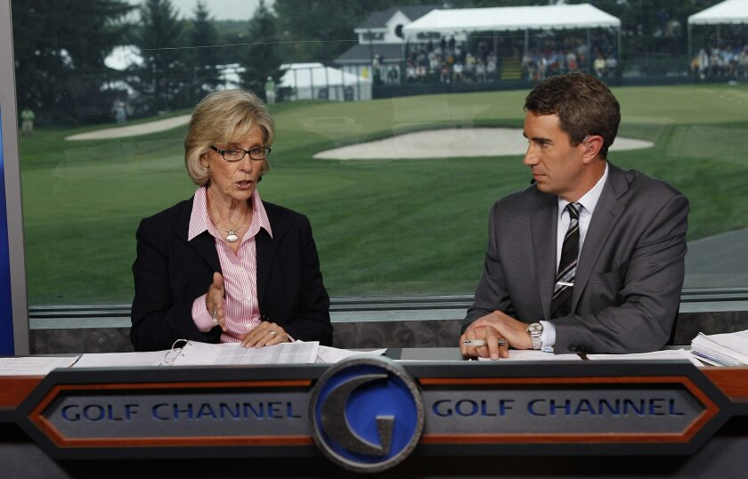 Golf Channel commentator Judy Rankin with broadcast partner Terry Gannon.