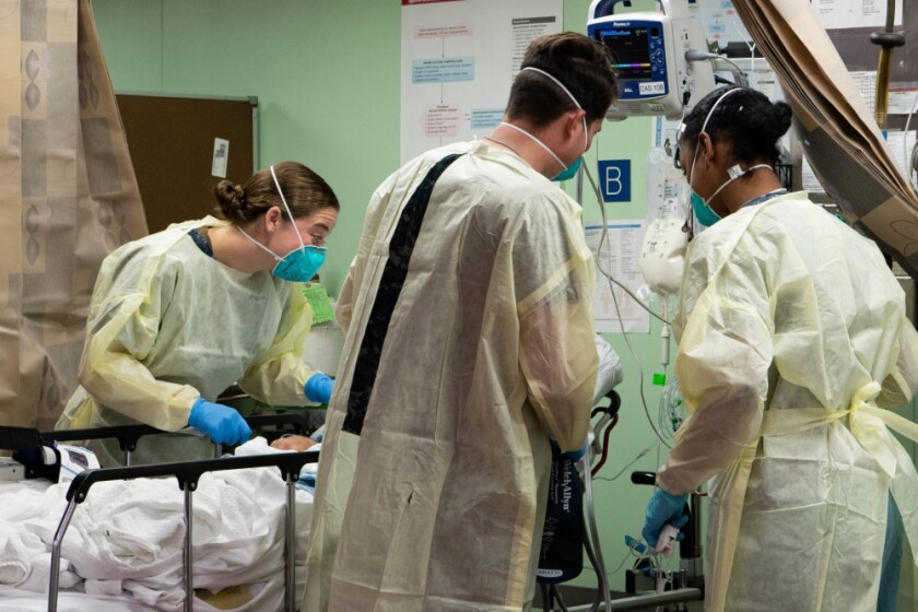 Sailors assigned to the hospital ship USNS Mercy (T-AH 19) treat the first patient from Los Angeles medical facilities March 29. Mercy deployed in support of the nation's COVID-19 response efforts, and will serve as a referral hospital for non-COVID-19 patients currently admitted to shore-based hospitals.