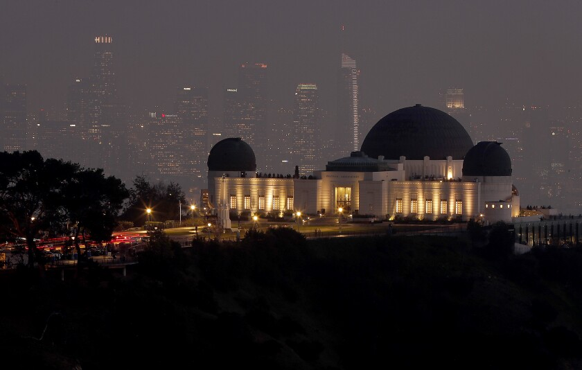 The Griffith Observatory at dusk